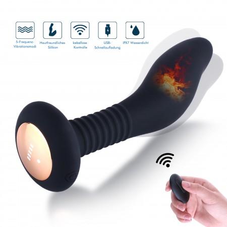 Hismith Prostatamassasjestimulator Anal Vibrator med fjernkontroll, 100% vanntett analplugg for menn kvinner