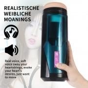 Pchający kubek do masturbacji z wibracjami o 9 częstotliwościach dla seksu Hismith Premium z systemem KlicLok