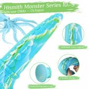 Hismith 25,7 cm Monster-dildo (blekksprut, grønn) med sugekopp til Hismith Premium Sex Machine